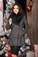 Palton dama cu blana neagra la gat si detalii din piele ecologica • Hermosa