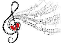 İçinde kırmızı bir kalp olan sol anahtarından çıkan melodi porte ve notaları
