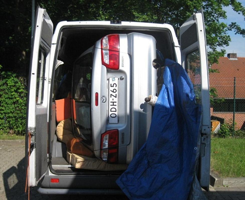 Shangri Duh German Police Finds Hidden Mazda Sideways Inside A