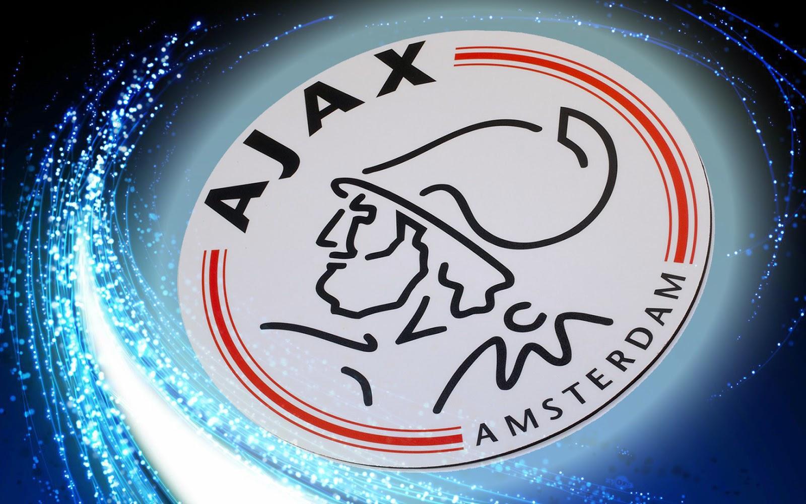 Blauwe Ajax wallpaper met groot logo