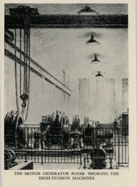 Sketch of the motor generator room at The London Twin-Wave Broadcasting Station Brookmans Park