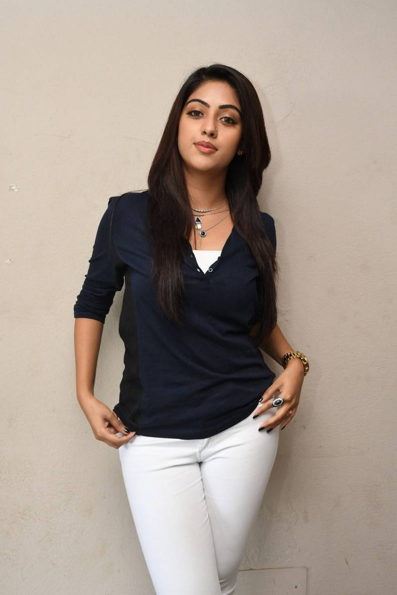 Anu Emmanuel Long Hair In Blue Top White Pant