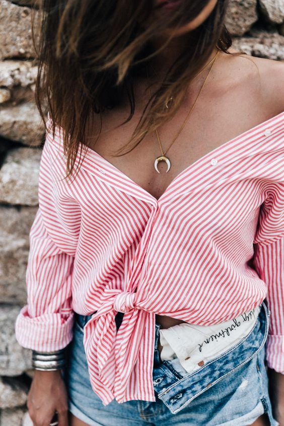 Collage Vintage - Red Striped Top + Denim Cut Off Shorts + Crescent Moon Pendant