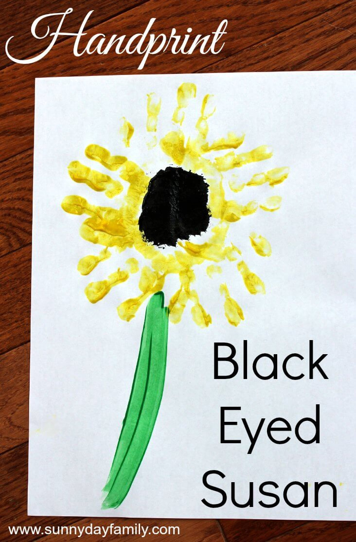 Make a Black Eyed Susan using your little one's hands for petals! A fun spring & summer painting activity for toddlers & preschoolers.