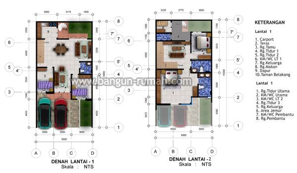 gambar denah rumah dan ukuran keterangan 4
