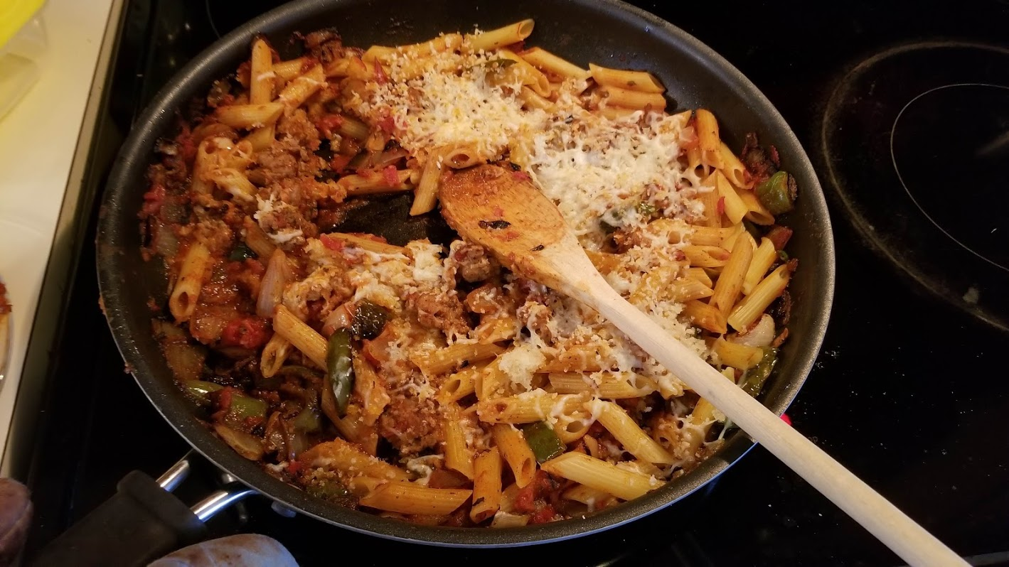 EveryPlate sausage and pasta skillet