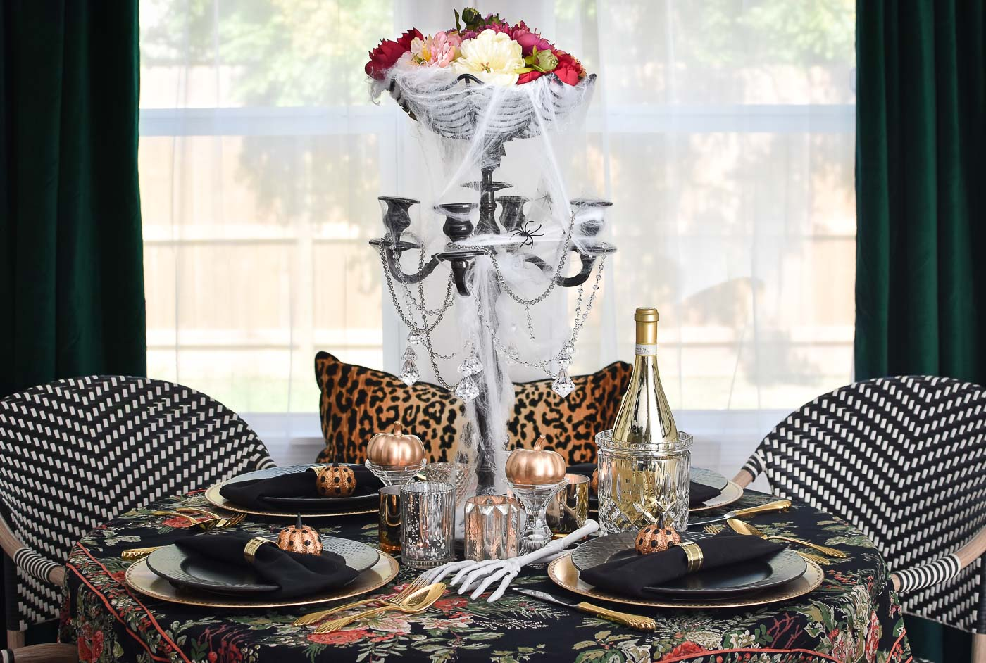 A chic Halloween tablescape.