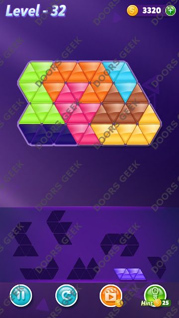 Block! Triangle Puzzle 7 Mania Level 32 Solution, Cheats, Walkthrough for Android, iPhone, iPad and iPod