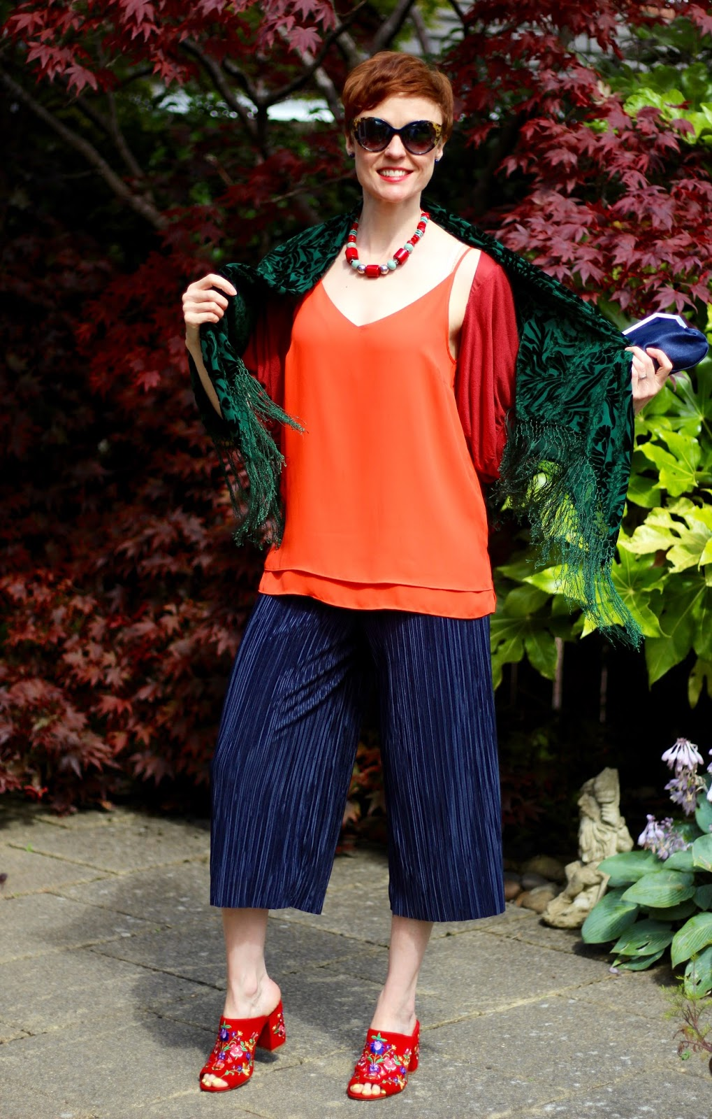 Navy, orange, green and red | Artisan Evening Outfit | Fake Fabulous
