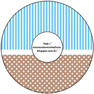 Etiquetas de Celeste y Marrón  para CD's.