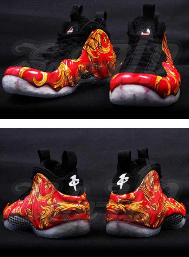 finest selection 20bc1 af986 Here is new detailed images of the Supreme x Nike Air Foamposite One  Red Gold Sneaker, no release date yet but will definitely keep ypu all  posted.