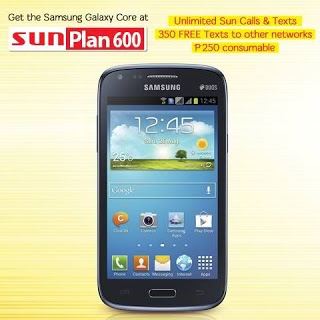 Samsung Galaxy Core free, apply at Sun  Cellular Plan 600