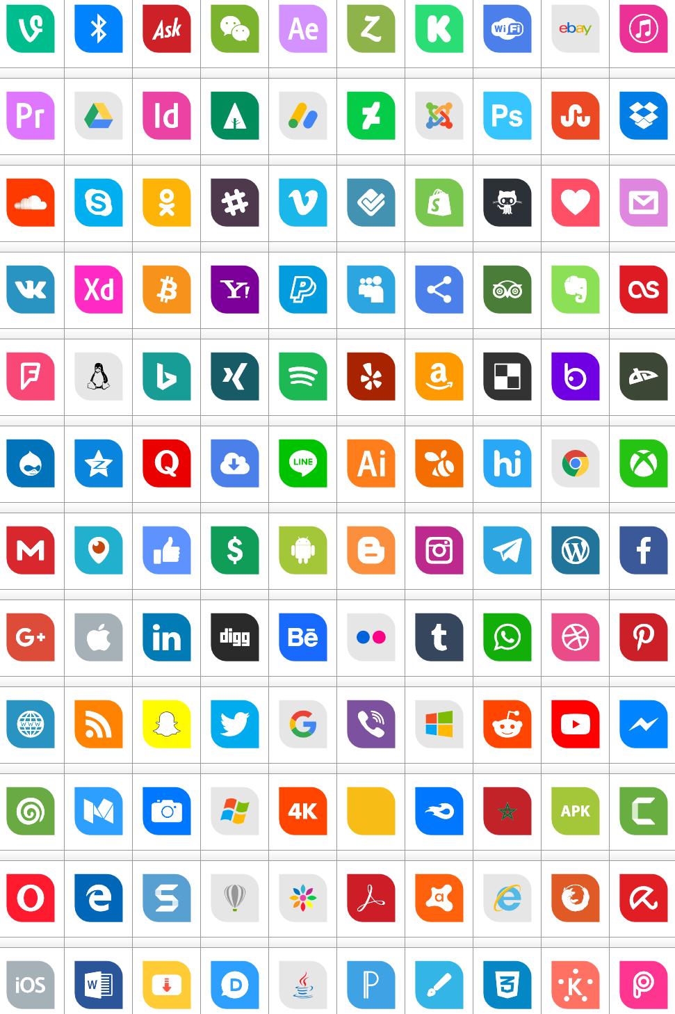 Download Font Icons Social Media 1 Color font ttf otf 120 icons elharrak fonts 2019