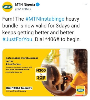 See How To Get 1GB Data For Only ₦200 On The MTN InstaBinge Bundle