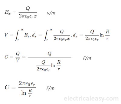 calculation of capacitance of single core cable
