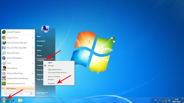 Pertama Klik Start, Klik kanan pada menu Computer, Plih propertis untuk melihat system type windows yang kamu pakai