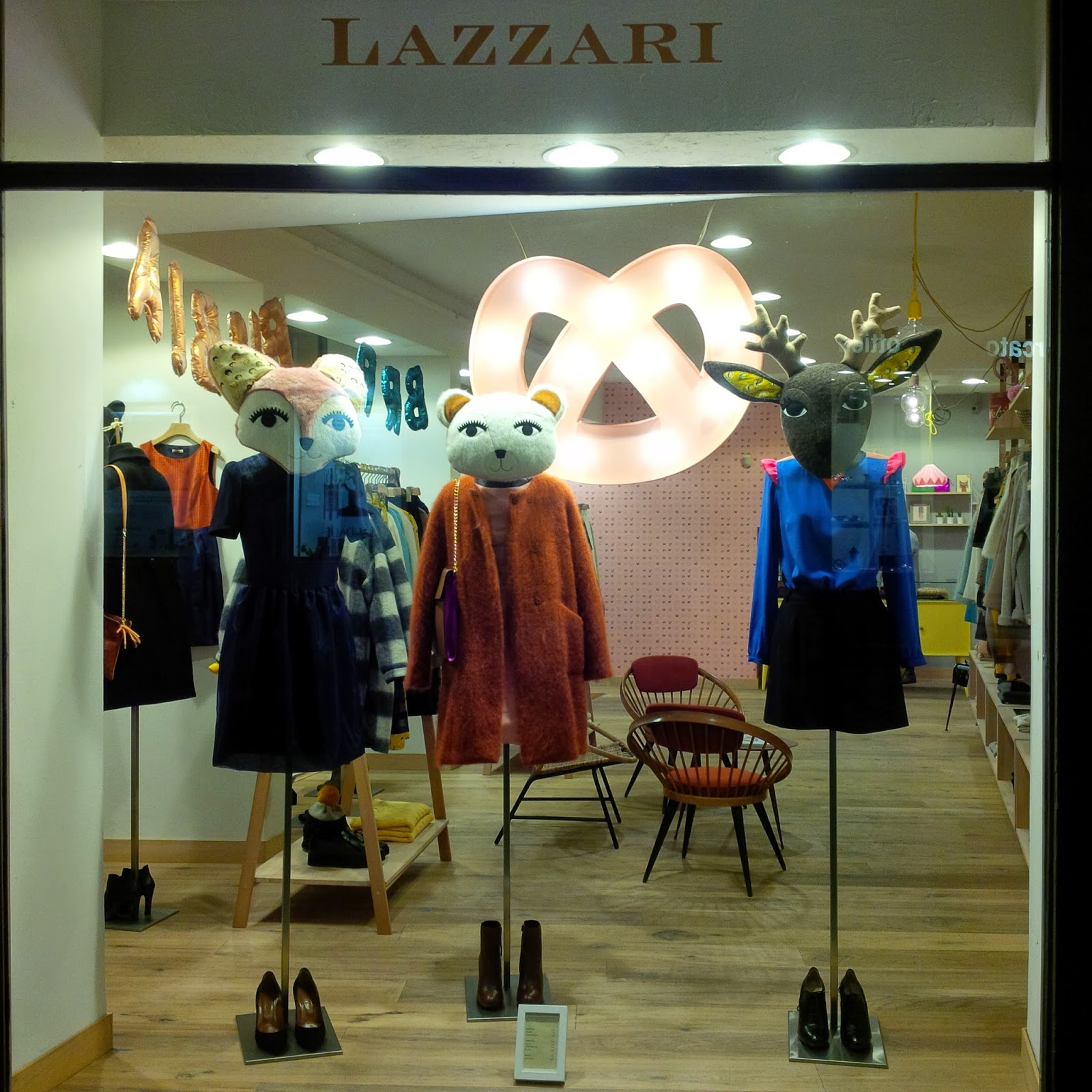 The window display of a posh fashion shop in Vicenza