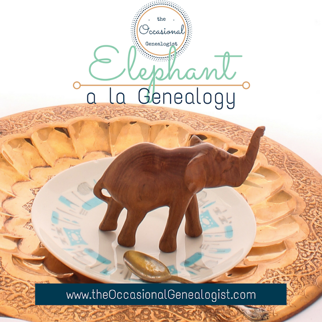 image for how to eat an elephant with text overlay - recipe for elephant ala genealogy