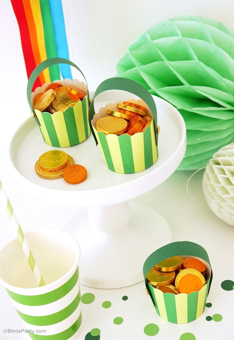 St Patrick's Day | DIY Pot of Gold & Rainbow Pompom - BirdsParty.com
