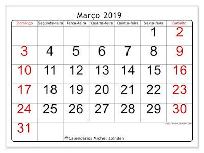 Calendário março/2019