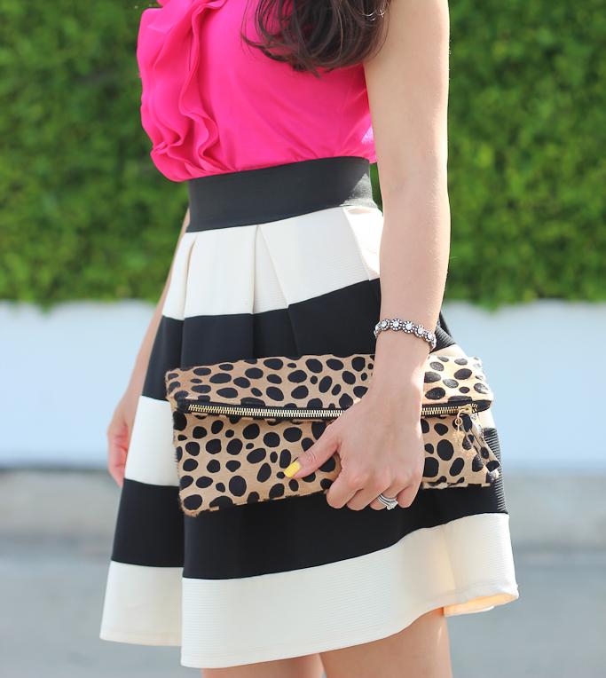 4a972373a9a1 Modcloth stripe it lucky skirt Clare V leopard clutch