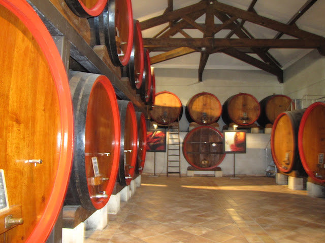 French wine in barrels