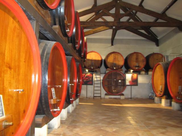 French wine in barrels