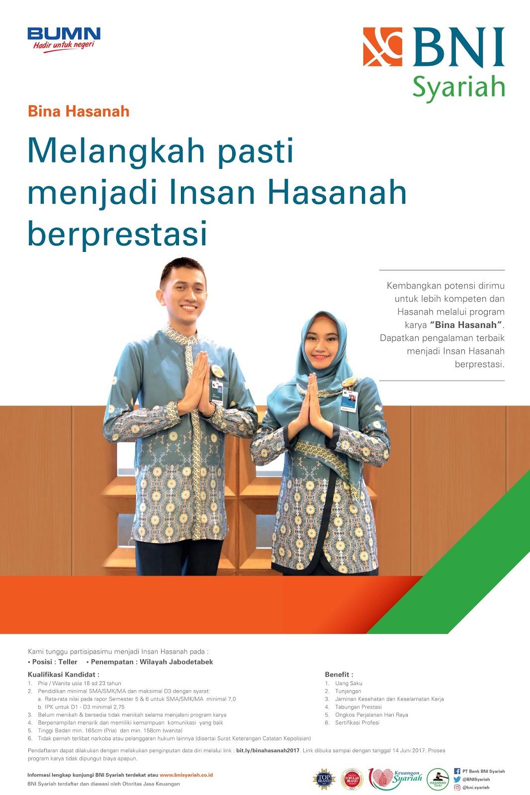 Lowongan Kerja Bina Hasanah Bank BNI Syariah Juni 2017