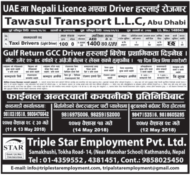 Jobs in Abu Dhabi for Nepali, Salary Rs 40,655