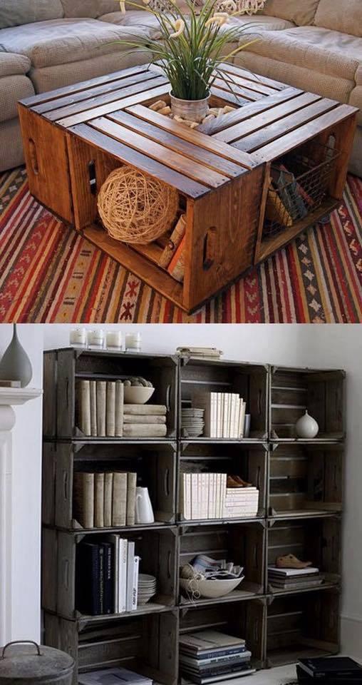 Cajas de madera recicladas para muebles y decoraci n for Muebles con cajas de madera recicladas