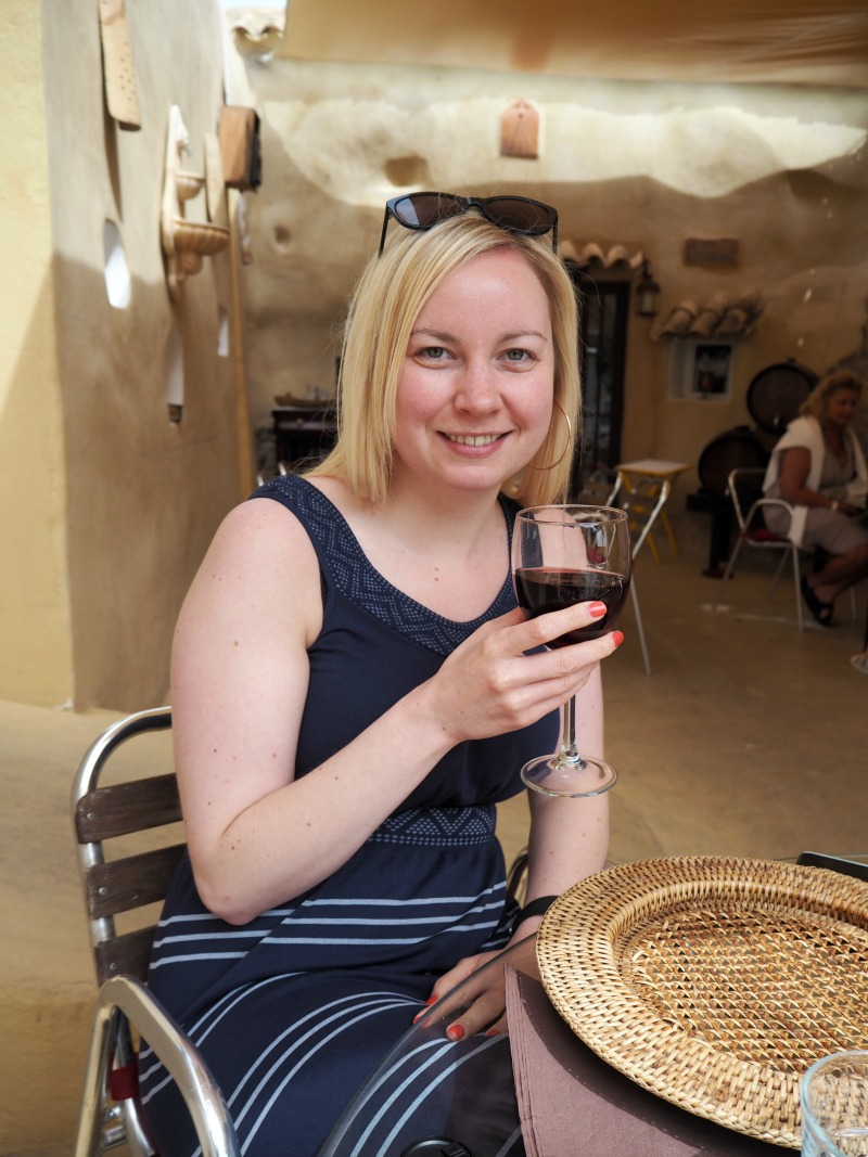 Enjoying a glass of red wine at Las Cuevas, San Miguel de Salinas