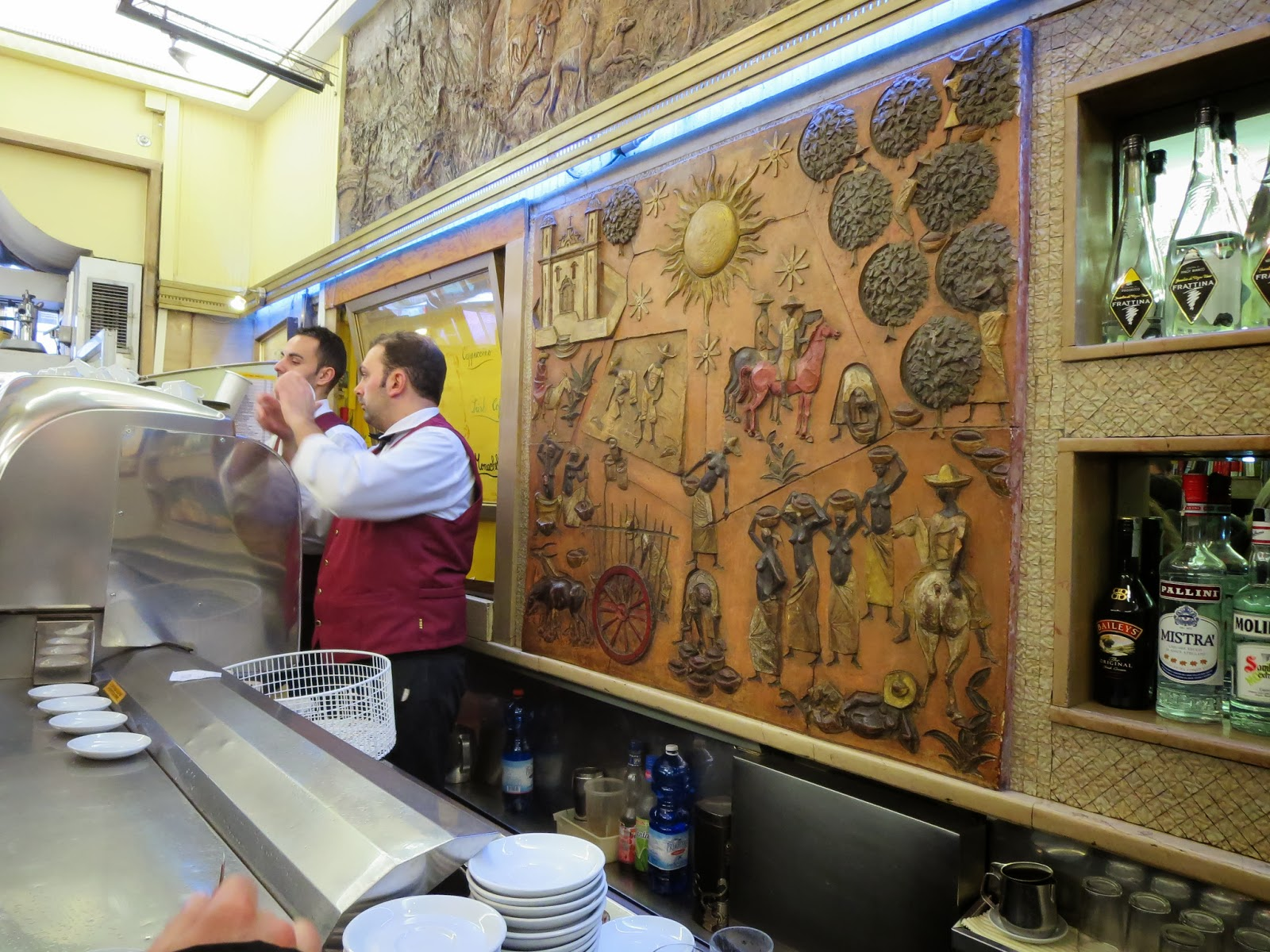 Behind the counter at Sant'Eustachio Il Caffè in Rome, Italy