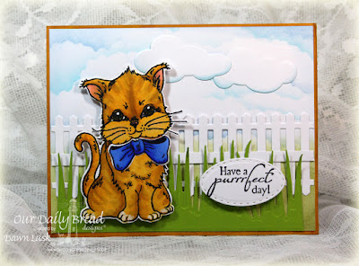 Our Daily Bread Designs Stamp set: The Cat's Meow, Our Daily Bread Designs Custom Dies: Kitty, Grass Border, Fence, Clouds and Raindrops, Stitched Ovals