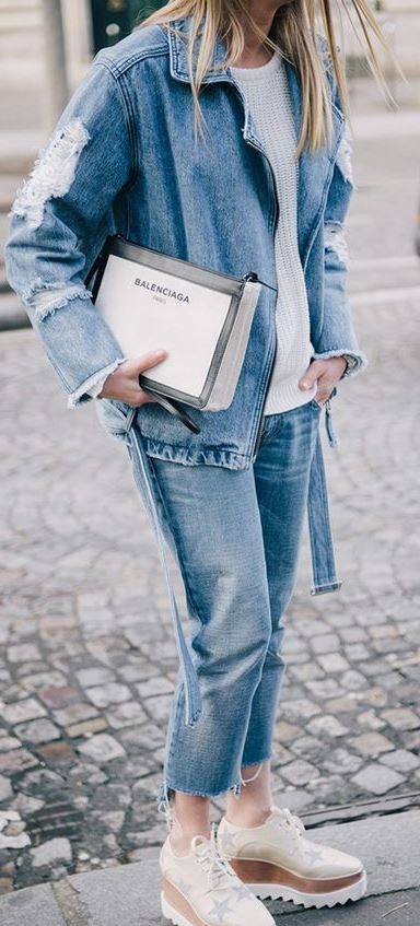 denim fashion trends / jacket + white sweater + boyfriend jeans + sneakers + bag