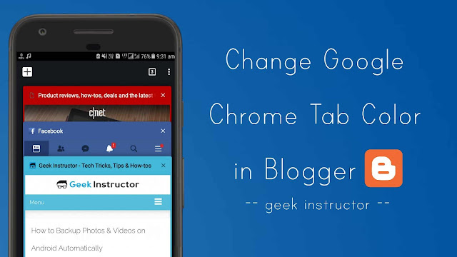 Change Google Chrome tab color in Blogger