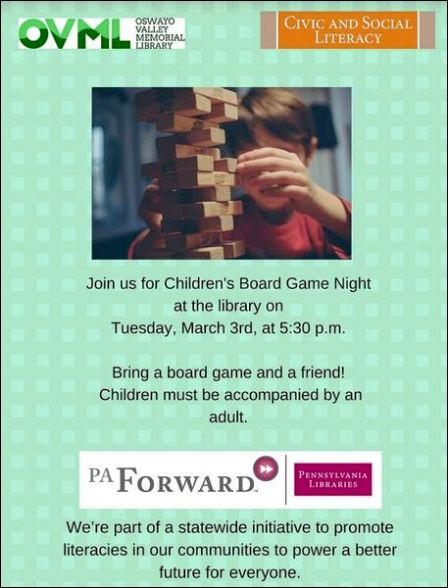 3-3 Children's Board Game Night, Shinglehouse