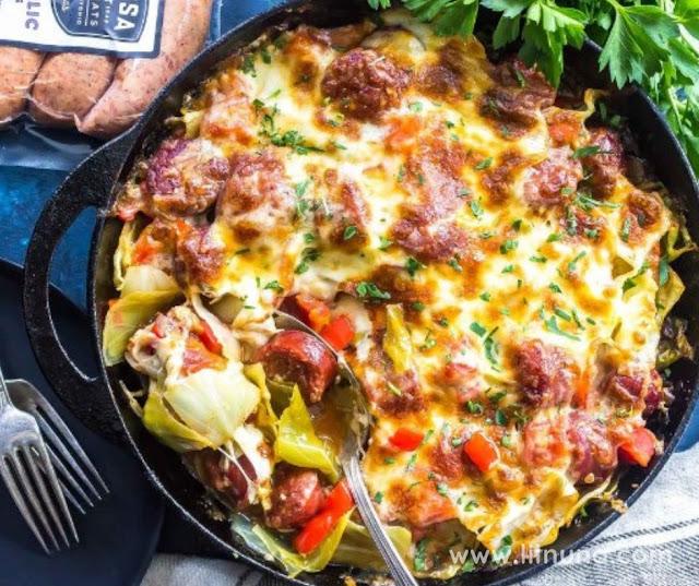 Keto Cheesy Sausage Skillet Recipe