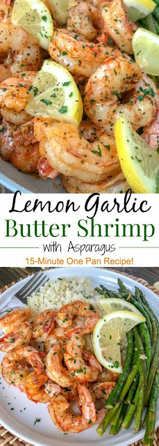 LEMON GARLIC BUTTER SHRIMP WITH ASPARAGUS FOR DINNER HEALTHY RECIPES
