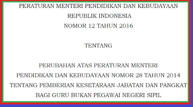 gambar Permendikbud Nomor 12 Tahun 2016 Tentang Pemberian Kesetaraan Jabatan dan pangkat bagi guru bukan PNS