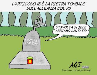 bersani, sinistra, pd, alleanze, articolo 18, politica, vignetta, satira