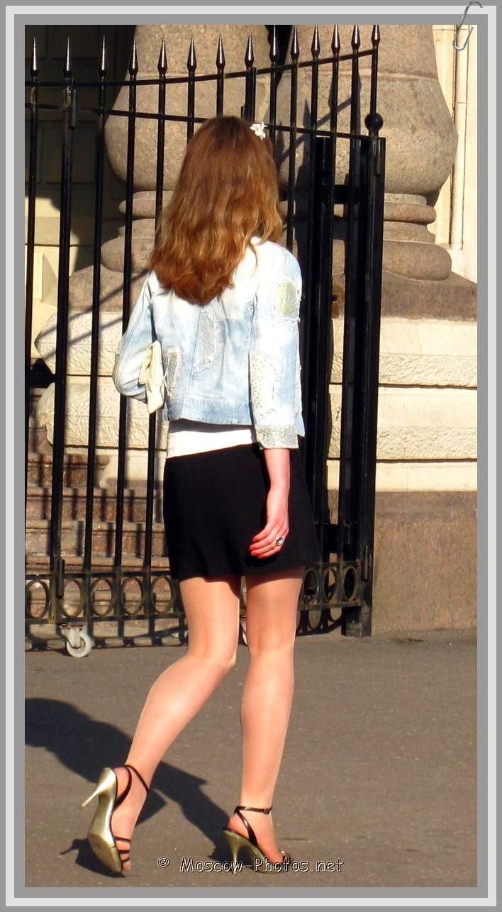 Moscow Girl In Vintage Denim Jacket On High Heels