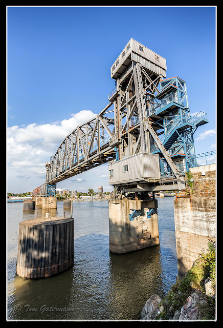 The Junction Bridge's lift span over the Arkansas River
