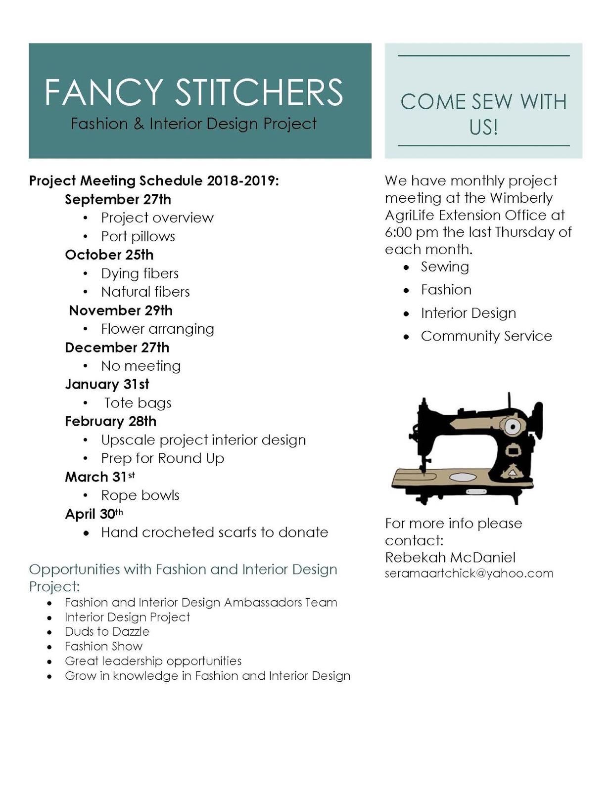 Hays County 4 H Fashion Interior Design Project