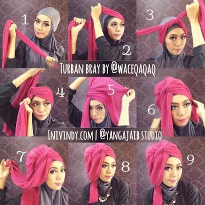 Tutorial Hijab Pashmina Glitter untuk Kebaya Wisuda Gambar Full Step