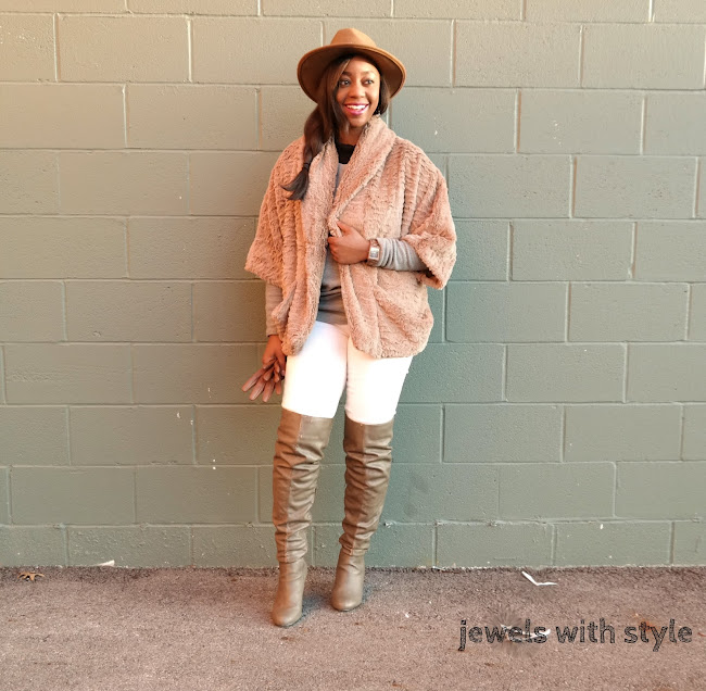 spring accessories, jord watch, wood watches, white jeans in the winter, how to wear faux fur, faux fur outfit, white jean outfit, giveaway, otk boots outfit, jewels with style, black fashion blogger
