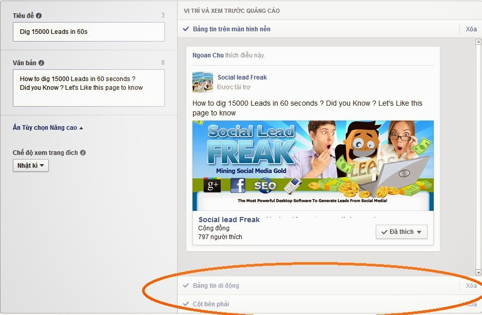 quảng cáo trên Facebook 6