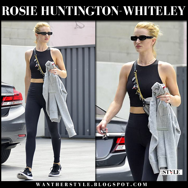 Rosie Huntington-Whiteley in black crop top and black leggings alo yoga model workout fashion june 22