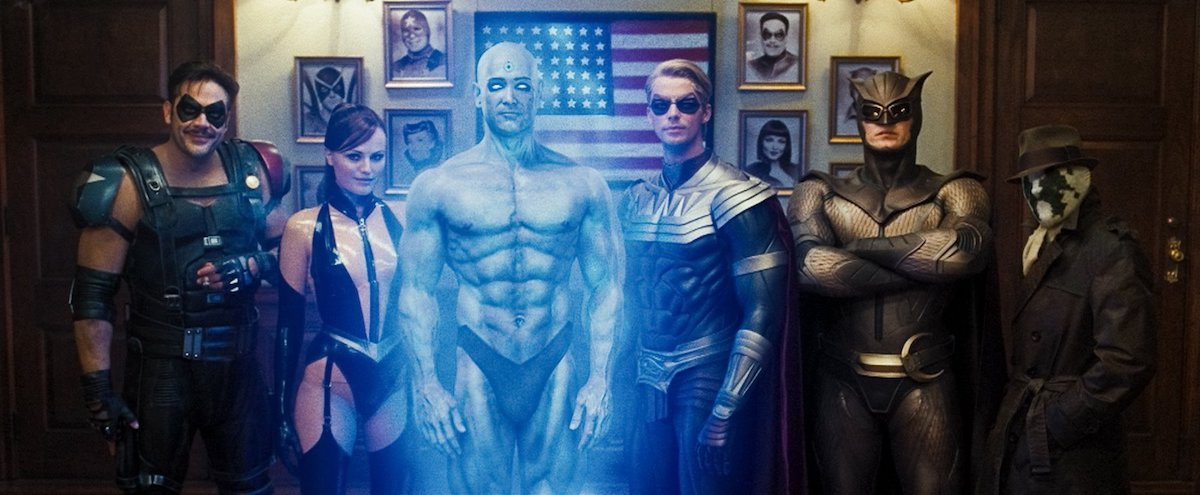 Group photo of characters in 'Watchmen' film