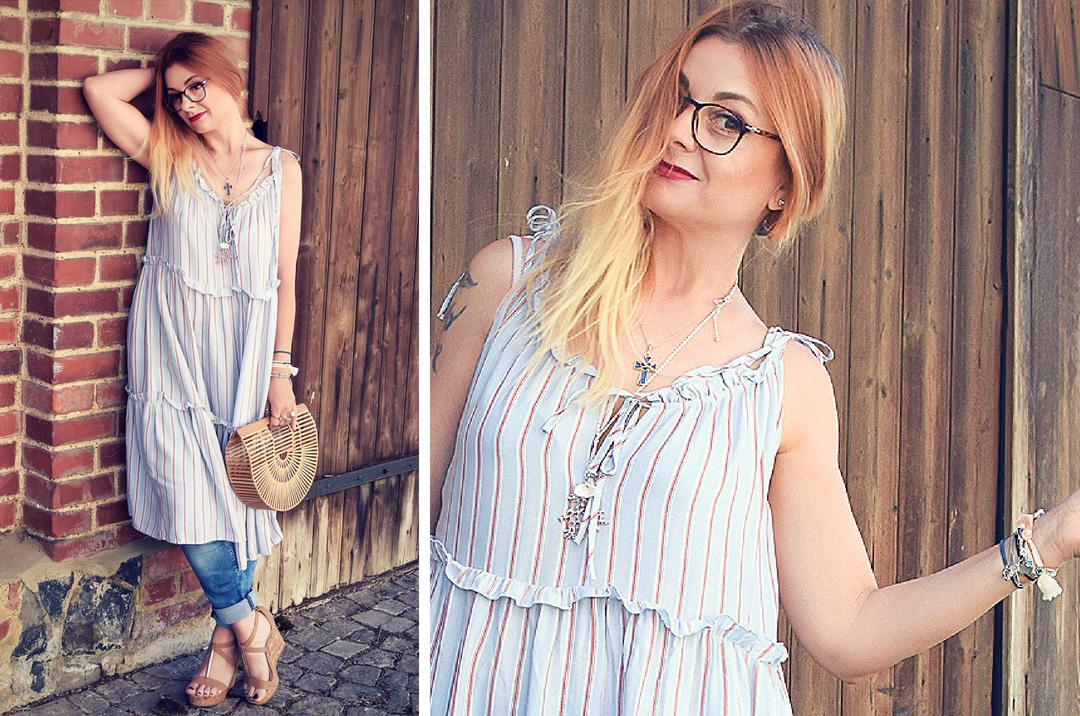 Bloggerlook mit Kleid über Hose, Streetstyle