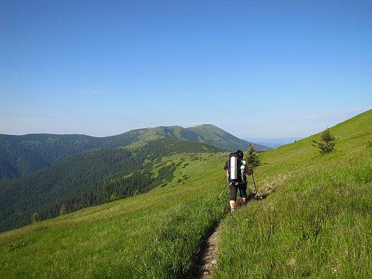 Veľká hoľa (1640 m n.p.m.) - jej szczyt omijamy od lewej.
